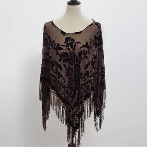 Accessories - Brown Velvet Floral Fringe Wrap